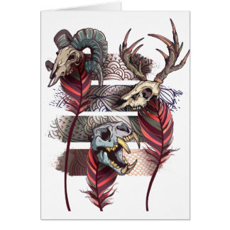 Horror Animal Curse Skeleton Skull Card