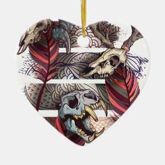 Horror Animal Curse Skeleton Skull Ceramic Heart Ornament