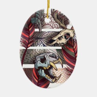 Horror Animal Curse Skeleton Skull Ceramic Oval Ornament
