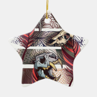 Horror Animal Curse Skeleton Skull Ceramic Star Ornament