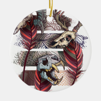 Horror Animal Curse Skeleton Skull Round Ceramic Ornament