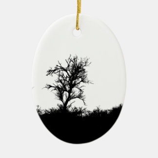 Horror Forrest. Scary Silhouette Ceramic Oval Ornament