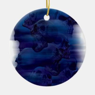 Horror Ghost Skeleton Round Ceramic Ornament