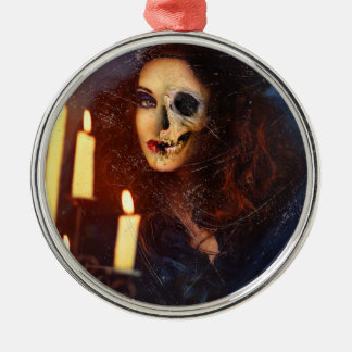 Horror Girl Candle Freak Creepy Horror Silver-Colored Round Ornament