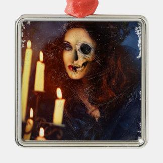 Horror Girl Candle Freak Creepy Horror Silver-Colored Square Ornament