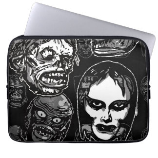 Horror Movie Monster Masks (b&w) Laptop Sleeve