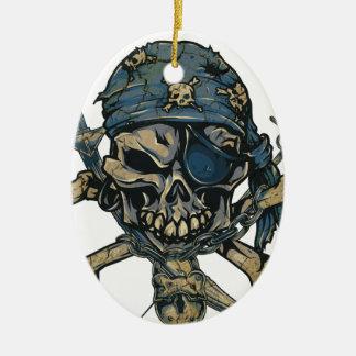 Horror Pirate Skull Ceramic Oval Ornament