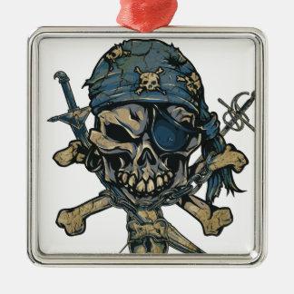 Horror Pirate Skull Silver-Colored Square Ornament