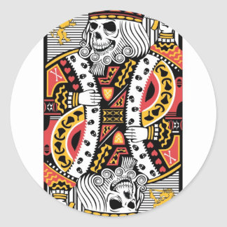 Horror Skeleton King Playing Card Classic Round Sticker