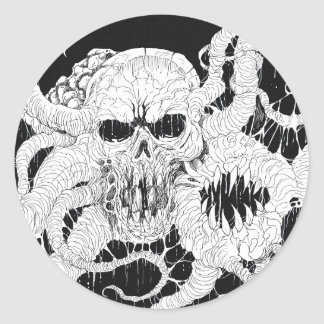 Horror Skull Demon Art Round Sticker