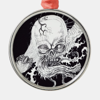 Horror Skull Silver-Colored Round Ornament