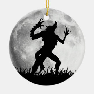 Horror Werewolf Full Moon Transformation - Cool Round Ceramic Ornament