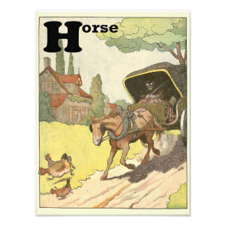 Horse and Carriage in the Countryside Alphabet Photo Art