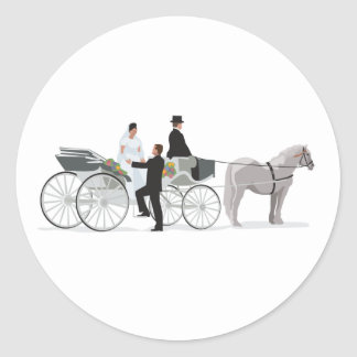 Horse And Carriage Wedding Arrival Classic Round Sticker