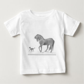 horse-and-cat-friends-pencil-art-gunilla-wachtel-1 baby T-Shirt