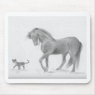 horse-and-cat-friends-pencil-art-gunilla-wachtel-1 mouse pad