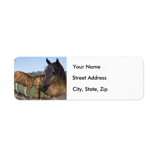 """Horse and cat, """"Love thy Neigh-Purr"""" Address Label"""