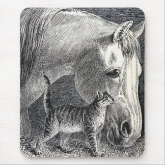 """""""Horse and Cat"""" Vintage Illustration Mouse Pad"""