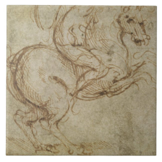 Horse and Cavalier (pen and ink on paper) Ceramic Tile