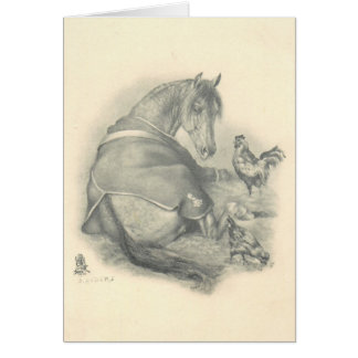 Horse and Chickens, Christmas Card
