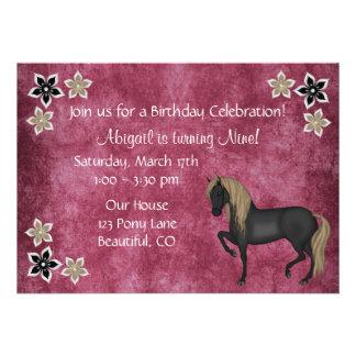 Horse and Flowers Birthday Invitation Girls