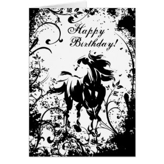 Horse and Flowers Happy Birthday Card
