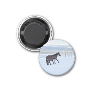 Horse and foal in snow 1 inch round magnet