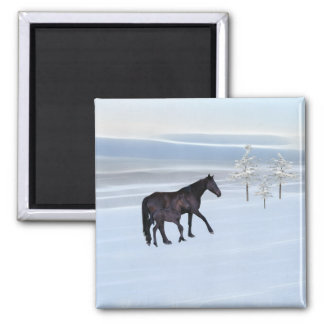 Horse and foal in snow fridge magnets