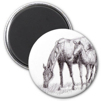 Horse and Foal Pen Drawing 2 Inch Round Magnet