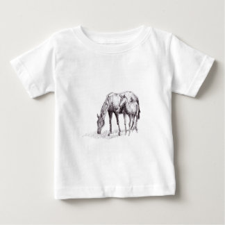 Horse and Foal Pen Drawing Baby T-Shirt