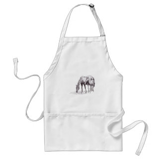 Horse and Foal Pen Drawing Standard Apron