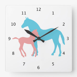 Horse and foal silhouette in pink and blue wall clock