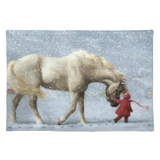 Horse and Girl in Winter Placemat
