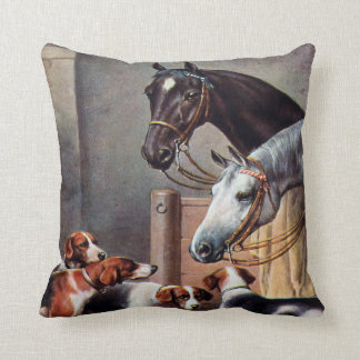Horse and Hounds in a Stable Pillow