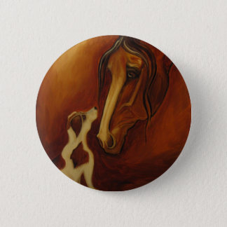 Horse and Jack Russell 2 Inch Round Button