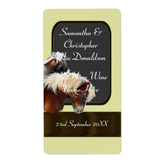 horse and pony themed wedding wine bottle shipping label