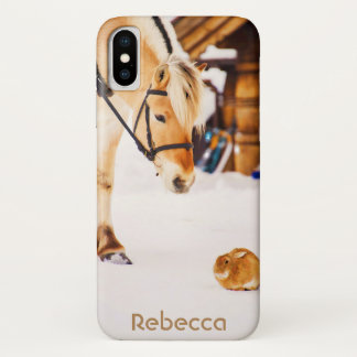 Horse and rabbit in snow iPhone x case