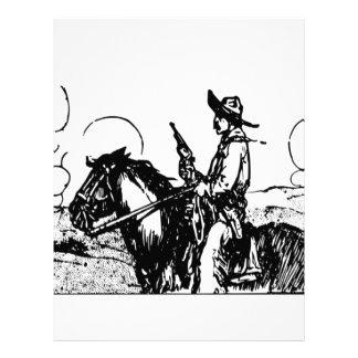 Horse and Rider, Gun Drawn, Wild West Desperado! Letterhead Design