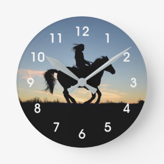 Horse and Rider Silhouette Round Clock