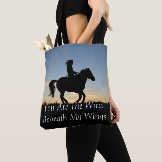 Horse and Rider Silhouette Tote Bag