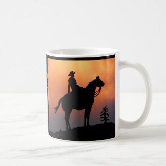 Horse and Rider Sunset Silhouette Coffee Mug