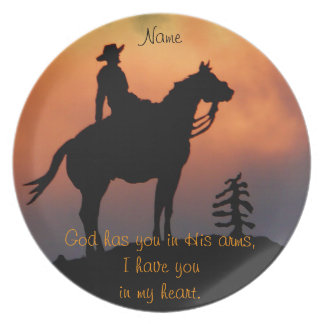 Horse and Rider Sunset Silhouette Dinner Plates