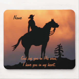 Horse and Rider Sunset Silhouette Mouse Pad