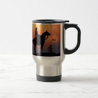 Horse and Rider Sunset Silhouette Travel Mug