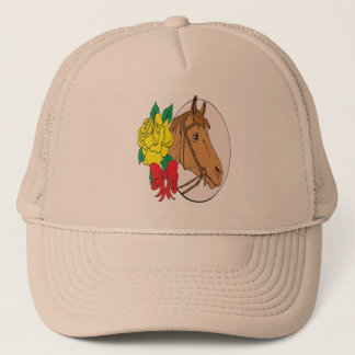 Horse and Rose Trucker Hat