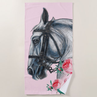 Horse And Roses Beach Towel