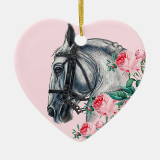 Horse And Roses Ceramic Heart Ornament