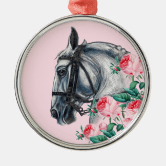 Horse And Roses Silver-Colored Round Ornament