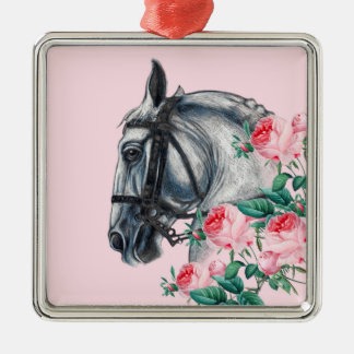 Horse And Roses Silver-Colored Square Ornament