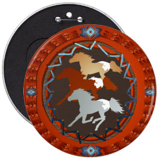 Horse and Shield-Magnet 6 Inch Round Button